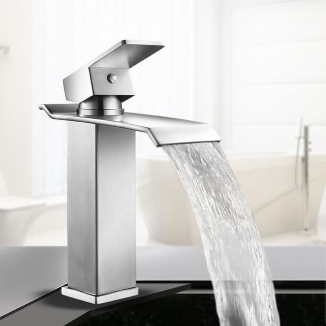 stainless steel waterfall faucet bathroom